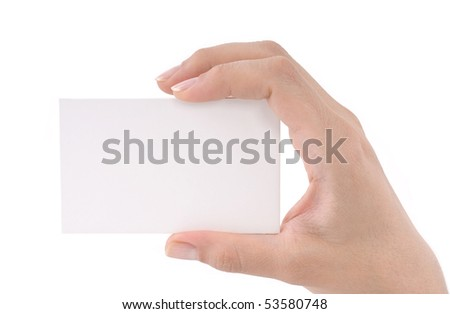 Woman hand holding blank business card isolated on white background.