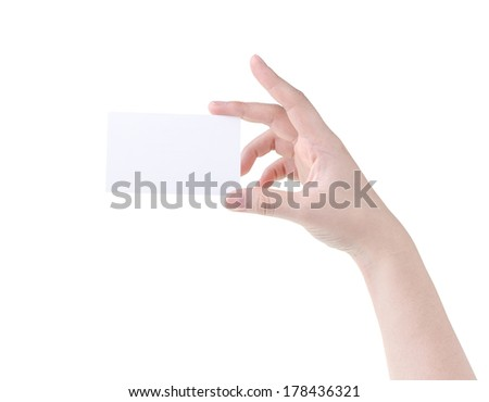 woman  hand holding blank card isolated on white background