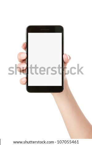 Woman hand holding blank mobile smart phone isolated on white background with clipping path for the screen - stock photo