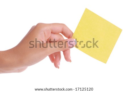 Woman hand holding blank notepaper on pure white background.