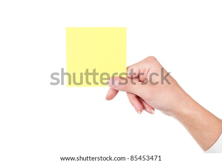 Woman hand holding blank notepaper on white background.