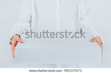 Woman Hand Holding Box On white Background post, package and delivery concept with copy space.