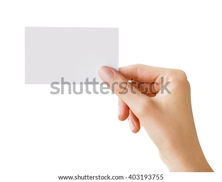 woman hand holding business card, clipping paths included - stock photo