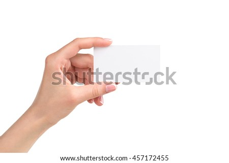 woman hand holding card, isolated on white