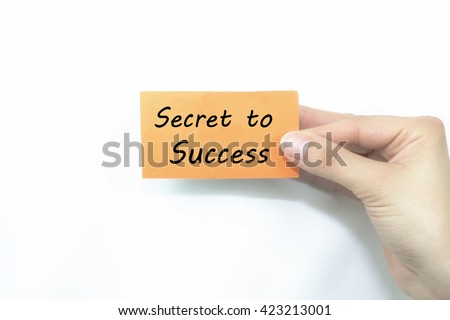 woman hand holding card with secret to success message.white background