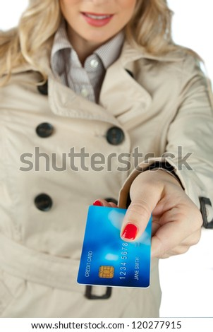 woman hand holding credit card close up - stock photo