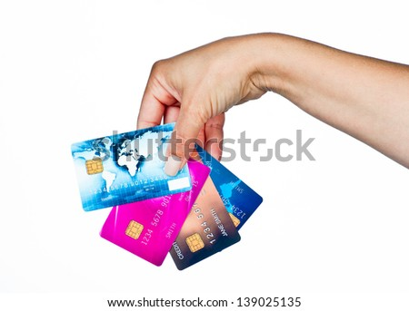woman hand holding few credit cards isolated - stock photo