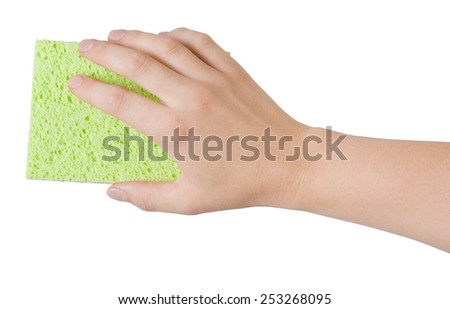 Woman hand holding green cleaning sponge isolated on white - stock photo