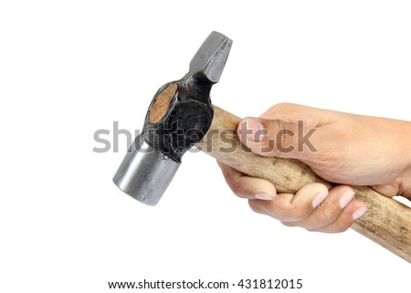 woman hand holding hammer