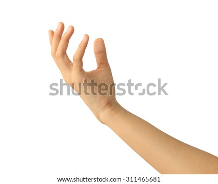 Woman hand holding isolated on white background - stock photo
