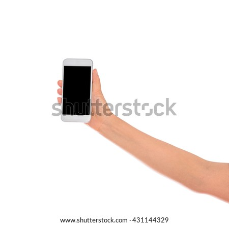 Woman Hand holding mobile smart phone with blank screen. Isolated on white background with clipping path - stock photo