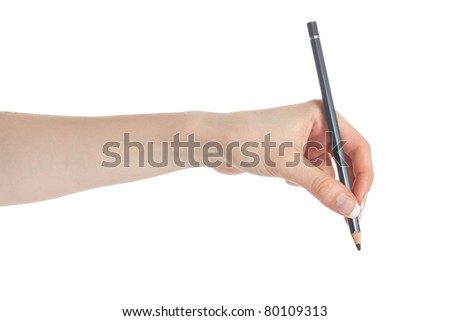 Woman hand holding pencil before writing - stock photo