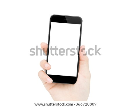 woman hand holding phone isolated clipping path inside - stock photo