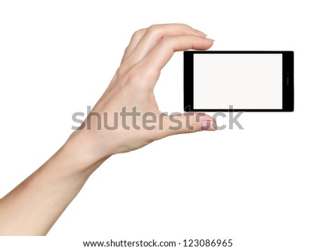 Woman hand holding phone mobile with touch screen isolated on white background. With empty space for your text - stock photo