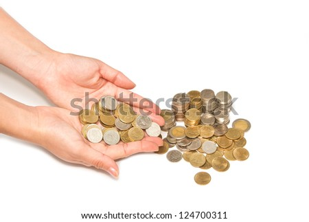 woman hand holding pile of coins on white background, business save money concept