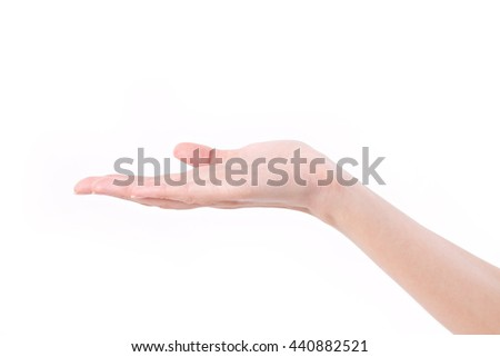 woman hand holding, receiving, begging, presenting something on blank space
