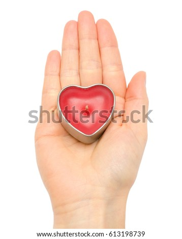 woman hand holding red heart. Isolated on white background