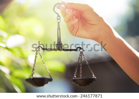Woman hand holding scales. Horizontal photo