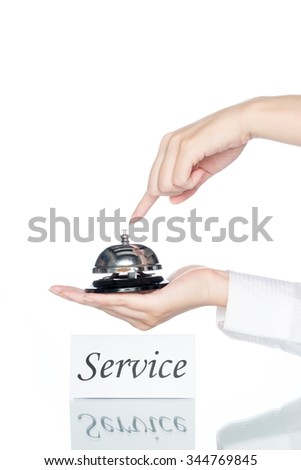 woman hand holding Service bell with service card on white background