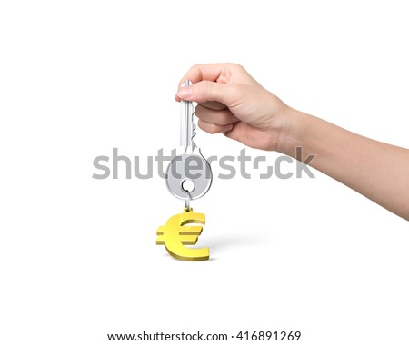 Woman hand holding silver key with golden euro sign shape keyring, isolated on white background.