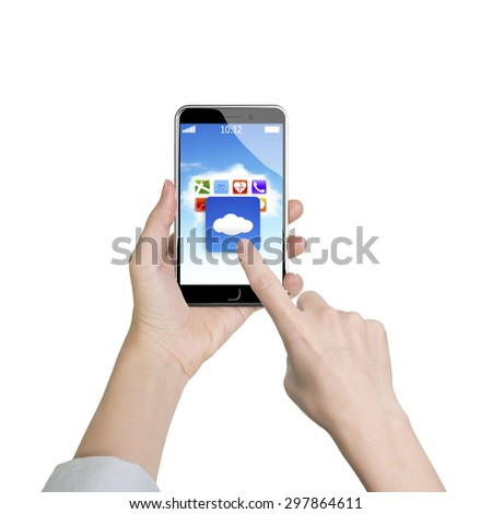 Woman hand holding smart phone, with finger touching cloud application on screen, front view, white background. - stock photo