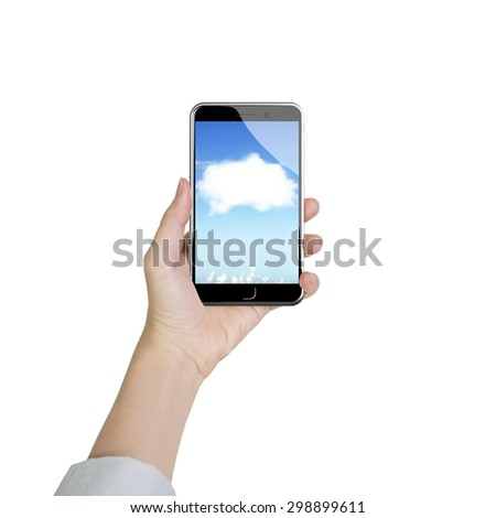 Woman hand holding smart phone with white cloud application, front view, isolated on white. - stock photo
