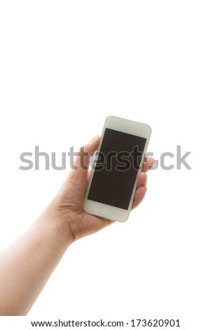 woman hand holding smartphone or phone isolated on white - stock photo