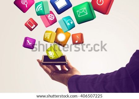 woman Hand holding smartphone with media icons and symbol.