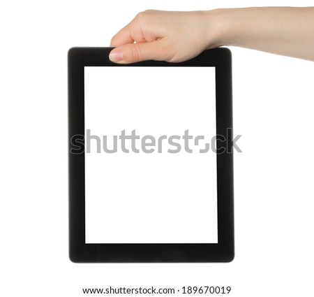 Woman hand holding tablet PC on white background   - stock photo