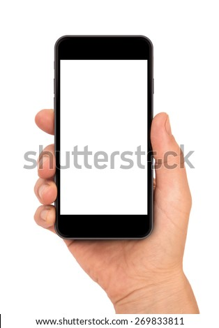 Woman hand holding the black smartphone, iphon 6 style - stock photo