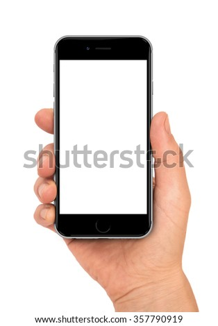 Woman hand holding the black smartphone with blank screen. - stock photo