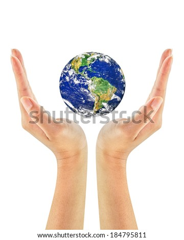 Woman hand holding the earth. Earth care concept. Elements of this image furnished by NASA