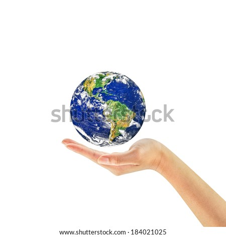 Woman hand holding the earth isolated on white background. Earth care concept. Elements of this image furnished by NASA - stock photo
