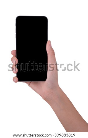 woman hand holding the phone tablet isolated on white background - stock photo