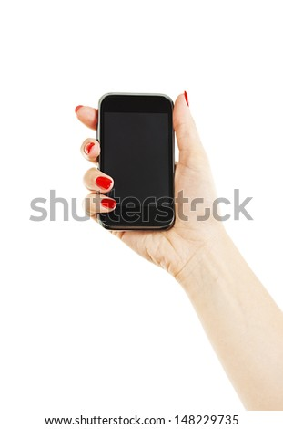 Woman hand holding the phone tablet touch computer gadget. Isolated on white background - stock photo
