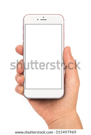 Woman hand holding the rose gold smartphone. - stock photo
