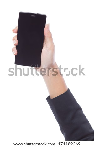 Woman hand holding the smartphone with blank screen - stock photo