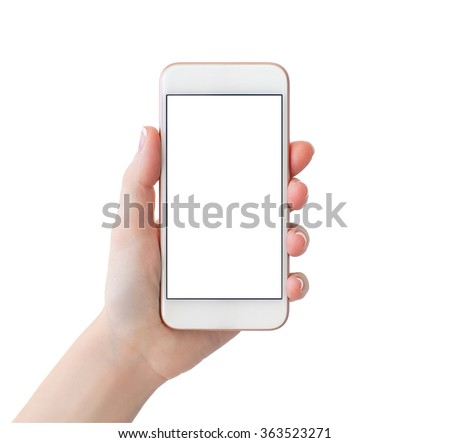 woman hand holding white phone with isolated screen - stock photo