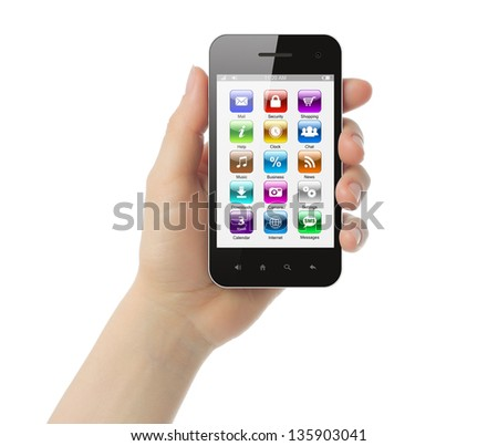 Woman hand holds smart phone with icons on white background   - stock photo