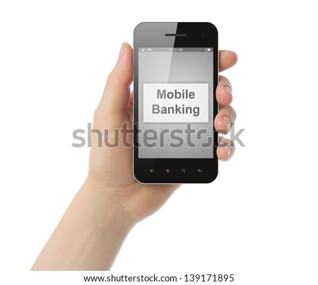 Woman hand holds smart phone with mobile banking button on its screen on white background   - stock photo