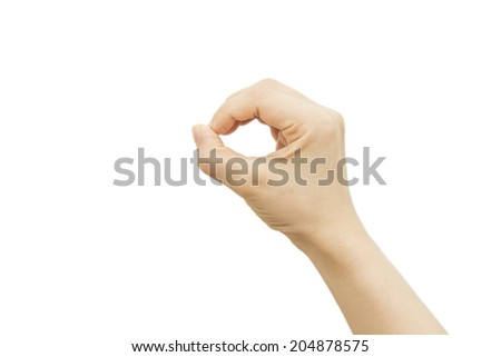 Woman hand holds virtual card or smart phone on white backgroun