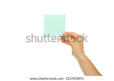 Woman hand holds virtual card or smart phone on white background