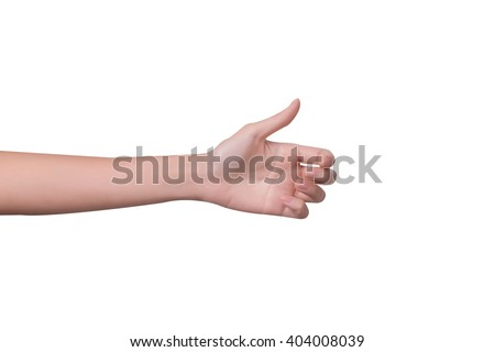 Woman hand holds virtual card or smart phone or something on white background - stock photo