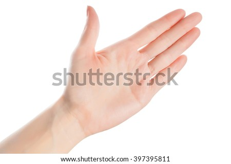 Woman hand in open gesture isolated on white background with clipping path - stock photo