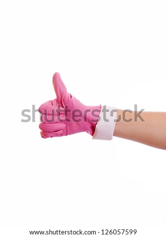 Woman hand in pink rubber glove gesturing ok (yes) - stock photo