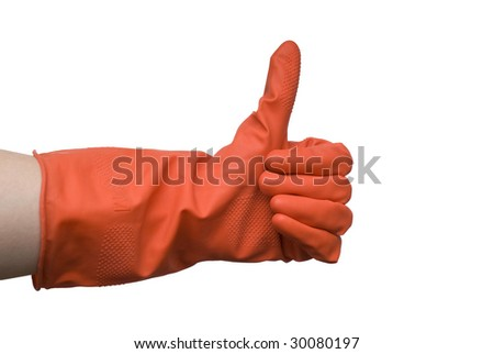 Woman hand in red rubber glove gesturing ok (yes) isolated on white background - stock photo