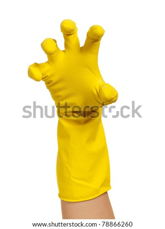 Woman hand in yellow glove isolated on white background - stock photo