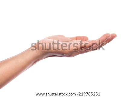 Woman hand isolated on white