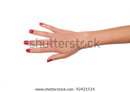 Woman hand. Isolated on white. - stock photo