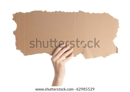 woman hand isolated on white background holding empty piece of cardboard with copy space for your text - stock photo